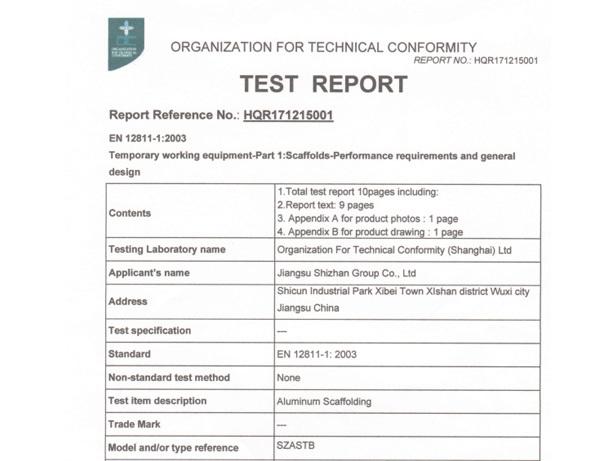 EN 12 811  CE test report-layer scaffolding